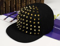 Cheap 2015 New Arrive Fashion punk rivets hip hop flat along baseball caps peaked hats Snapback caps for man and woman free shipping