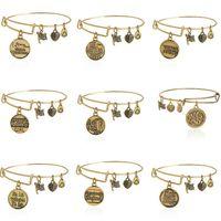 antique gold slide bracelet - 2016 Alex and Ani Bangles Diy Pendants Vintage Antique Gold Pulseras Bracelets Men Women Stainless Steel Jewelry