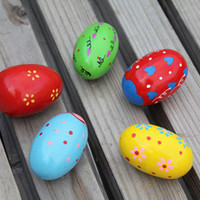 Wholesale 2015 Cute Baby Kids Wooden Maracas Sand Egg Instrument Percussion Shakers Gift Toy