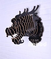 Wholesale DIY wooden Dragon head for wall decoration Chinese dragon wood animal head for home decoration wooden craft chinese style decor