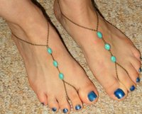 Cheap New Arrived 2 types ankle bracelets Bracelet Bangle Slave Chain Link Finger Hand Harness Turquoise Anklets Chain Accessories
