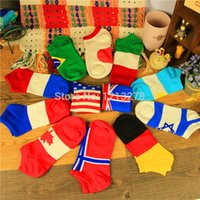 Wholesale color candy American Canada national flag women s thin sock slippers Cotton Short Invisible Socks Women Socks meias gift