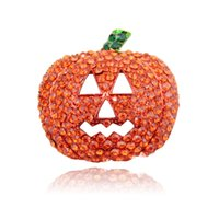 Wholesale High Quantity Brooches Pins Fashion Orange Rhinestone Pumpkin Mask Gold Plated Brooches Christmas Halloween Gift Jewelry