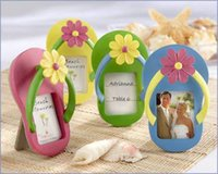 accent card - Flip Flop Photo Frame Place Card Holder with Flower Accent Set of