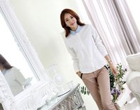Cheap New Arrival 2015 Spring Fashion Women Lapel Collar White Long Sleeve Embroidery Casual Tops Shirt t-shirt Ladies Blouses S-XXL 2 Colors