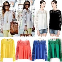 Wholesale 2015 New Fashion Women s Blouse Lace Sleeve Loose Tops round neck T shirt Chiffion Tops Emboriey Gorgeous long Sleeve SHIRTS