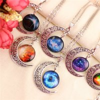 Wholesale Children Necklace Kids Girls Boys Starry Moon Outer Space Universe Gemstone Vintage Necklaces Pendants Chain Jewelry Children Accessories