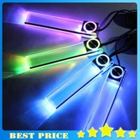 Wholesale 4 LED Car Flashing Lights Interior Glow Decorative Floor Lights Seven Colors in1 Atmosphere Auto Lamp Colorful Led Strobe Light