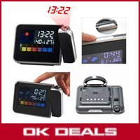 Wholesale BEST Digital LCD LED Projector Alarm Clock Weather Status Projecting Indoor