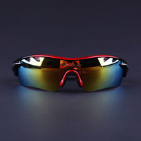 Wholesale Freeshipping Men Women Polarized Red and Black Cycling Sunglasses Outdoor Sports Bicycle Glasses Bike Goggles Sun Eyewear with Lens