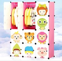 Wholesale Cartoon wardrobe simple baby infant children receive ark composite plastic resin assembly wardrobe closet