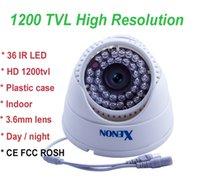 Noche carcasa de la cámara de visión España-CMOS 1200TVL cctv cámara cámara domo 36 leds 3.6mm / 6mm lente buena visión nocturna de plástico de vivienda para uso en interiores