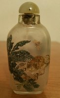 antique snuff - Antique Crystal Inside Reverse Painted Snuff Bottle