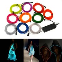 Wholesale 1M colors Flexible EL Wire Neon Glow Tube Lamp Light V controller