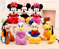 Teddy Bear Plush Unisex 30cm High Quality cute Minnie doll Mickey Mouse Pato Donald Daisy Plute Goofy Plush Toys For Children's Gift 6pcs lot