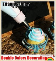 Wholesale 7 IN Double Colors Piping Bags Icing Pastry Bags Cake decorating kits Cupcake Baking Tools Supplies Equipment Accessories