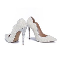 Wholesale Handmade White Pearls Silve Diamonds Women Wedding Shoes High Heels Women Pumps Pointed Toes Crystal Shoes MA04150