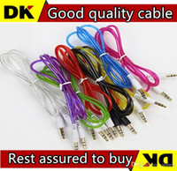 Wholesale 1M Double Layer mm Male to Male Stereo Aux car Audio Cable for iPhone iPod MP3