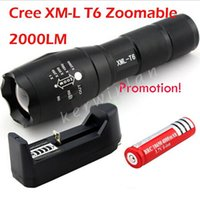 Wholesale UltraFire E17 Torches CREE XM L T6 LED Lumens Zoomable High Power Flashrglight Torch AAA Zoom Lamp Light battery charger