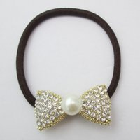 Wholesale New Style Of Crystal Lovely Bow Hair Rubber Band With Pearl and Brown Elastic Hair Band Hair Accessory For Girls And Women
