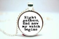 american beginnings - 10PCS Game of Thrones Night Gathers And Now My Watch Begins Jon Snow Necklace