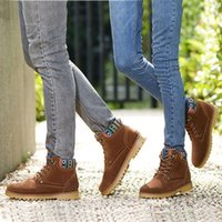 Cheap Free shipping 2015 British style winter shoes woman snow suede boots flat heels martin boots men 39-44