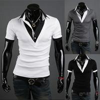 Wholesale Fashion Mens T Shirt Slim TOP V NECK Tee Casual Short Sleeve Shirts US XS L Whites Blacks Dark Greys Free Shpping