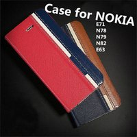 e71 red - New Arrive Bestselling Hard Back flip Case for Nokia E71 N78 N79 N82 E63 with Credit Card Slot Contrast Color Leather case