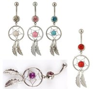 Wholesale 150pcs Stylish Feather Turquoise Stone Blinking Diamond Navel Ring Body Piercing Luxury White Gold Steel Belly Button Rings Dancing B19