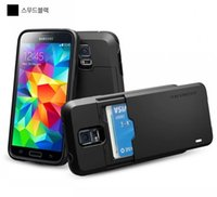 Cheap For samsung galaxy s5 cases Korea Hot Hybrid TPU + PC Credit IC Card Holder Cellphone Cases Cover With Retail Package