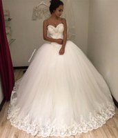 Wholesale Romantic Puffy Ball Gown Wedding Dresses Backless Bridal Gowns Sweetheart Appliques Pearls Garden Vintage Court Train Dress Custom