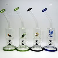 glass fish bowl - Funny Colorful Animal Two Functions bong Green Turtle Eagle Fish Frog Swan Honeycomb Oil Rigs Glass Bongs dab two function dry bowl oil rig