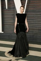 amanda fashion - 2016 Oscar All Black Celebrity Dresses Amanda Peet Evening Dresses Sweep Train Fashion Eelgant Evening Wear Pageant Banqurt Party Gowns