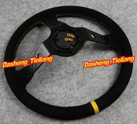Wholesale Universal Car Auto Racing Suede Leather Aluminum Frame Steering Wheel Black Color Spare Parts and Accessories Replacements order lt no tr