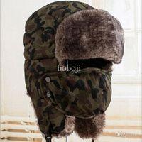 Wholesale unisex faux fur lining trooper trapper snow ski beanie aviator russian warm winter earflap bomber hats cap colors
