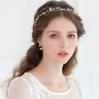 Wholesale 2015 Tiaras Hair Accessories K Gold Plated Flower Crystal Hair Vine Bridal Hairband Acessories Wedding Headbands Headpieces For Weddings