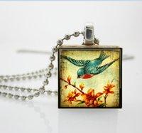 aa fashion jewelry - Scrabble Tile Pendant Vintage Blue Swallow Scrabble Pendant Jewelry Fashion Necklaces For Women AA