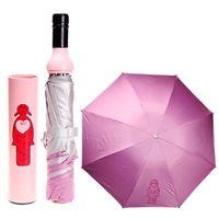 wine bottle umbrella - 5pcs Lovely Mixed Design Foldable Umbrella Wine Bottle Style Folding Parasols Rain Sun Protection Supplies H210