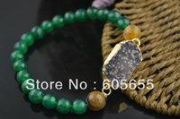 Faceted Ágata Verde Onyx Round Beads Elástico Línea Drusy Cristal Cuarzo Colgante Brazaletes Moda Joyería 5 pc por lote