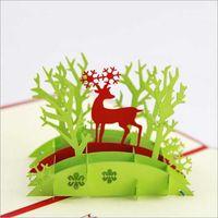 Precio de Tarjetas de navidad baratos-Tarjeta de Invitación de la tarjeta de agradecimiento estereoscópica 3D de Navidad Tarjetas de Navidad hecha a mano Campanas postal del envío libre en la acción de la vendimia barato ZYY