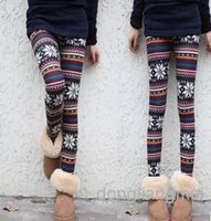 women winter tights - 200pc Knitted rabbit fur blend multicolour snow patterned autumn and winter women leggings tights pants J81