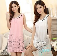 cotton nightgown - 2014 Summer Woman Clothe Print Vest Cotton Nightgown Knee Length Sleepwear M Plus Size Large Size XXL