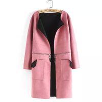 Wholesale Cheapest Coats Autumn Fashion Comfortable Suede Cardigan Coat Pink