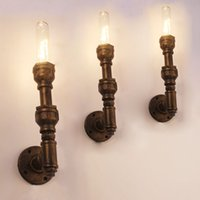 Cheap Firewood industrial pipe wall lamp retro living room bedroom den decorated wrought iron balcony Loft single head wall lamp lights