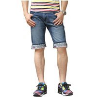 Cheap NWT Men Brand Fashion Ripped Patched Jeans Shorts Summer Casual Distressed Destroyed Denim Bermuda Beach Short For man