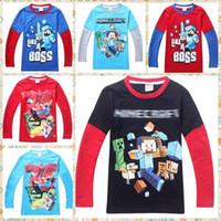 Cheap 110-150cm Minecraft For Big Boys Tshirts Long Sleeve Cute Cartoon Cotton Tees Kids T-Shirt Children Autumn Tops Clothing baby boy clothes
