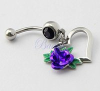 belly ring with rose - Heart Dangle with Purple Rose Leaves Belly Button Ring Navel Bar G JW730
