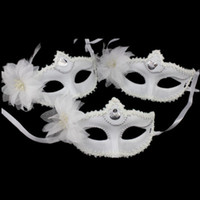 Wholesale 2015 Sexy Masquerade masks half mask Venetian Dance Party Snow white Masks with Feather flower Halloween costumes cm