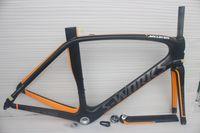 Wholesale Hot sale black orange Carbon road frame matte glossy road bike frame size49 cm full carbon fiber bicycle frame EMS