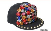 Wholesale 2014 Rivet Cap Punk hat Rock Hip hop fashion unisex Studs Hat studded and Spiked snapback caps black red blue Gem hats